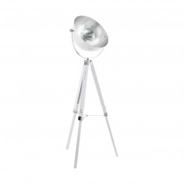 Торшер Eglo Trend & Vintage Industrial CovaLEDa 49877, 1xE27x60W, белый, серебро, дерево, металл