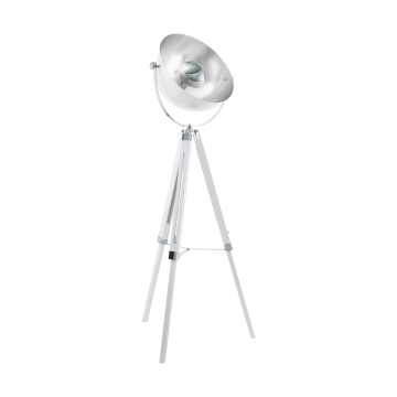 Торшер Eglo CovaLEDa 49877, 1xE27x60W, белый, серебро, дерево, металл