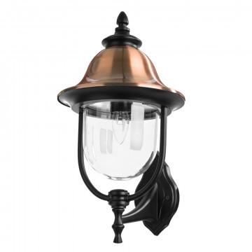 Настенный фонарь Arte Lamp Barcelona A1481AL-1BK, IP44, 1xE27x75W, черный, медь, прозрачный, металл, металл с пластиком