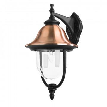 Настенный фонарь Arte Lamp Barcelona A1482AL-1BK, IP44, 1xE27x75W, черный, медь, прозрачный, металл, металл с пластиком