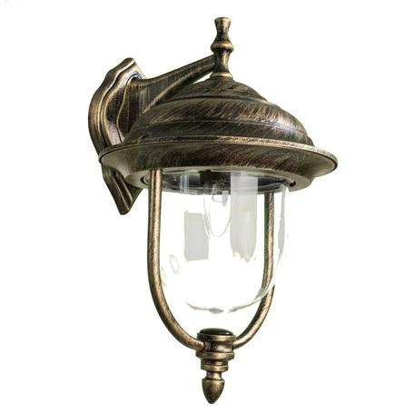 Настенный фонарь Arte Lamp Barcelona A1482AL-1BN, IP44, 1xE27x75W, черный с золотой патиной, прозрачный, черненое золото, металл, пластик