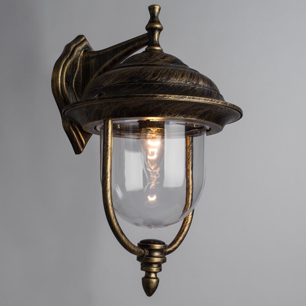 Настенный фонарь Arte Lamp Barcelona A1482AL-1BN, IP44, 1xE27x75W, черный с золотой патиной, прозрачный, черненое золото, металл, пластик - фото 2