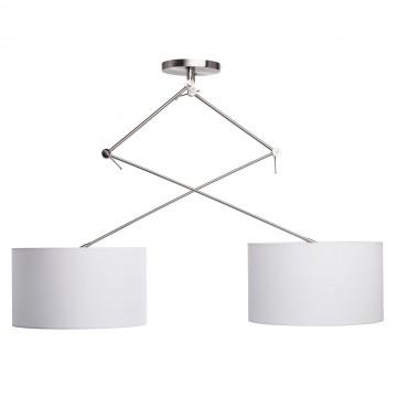 Потолочный светильник на складной штанге MW-Light Райне 494012102, 2xE27x60W, никель, белый, металл, текстиль