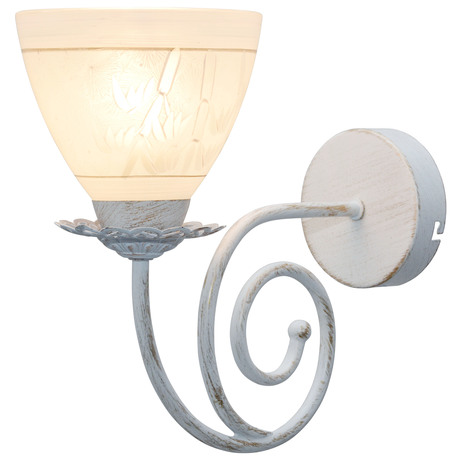 Бра Toplight Barbara TL1134-1W, 1xE27x60W, белый с золотой патиной, белый, металл, стекло