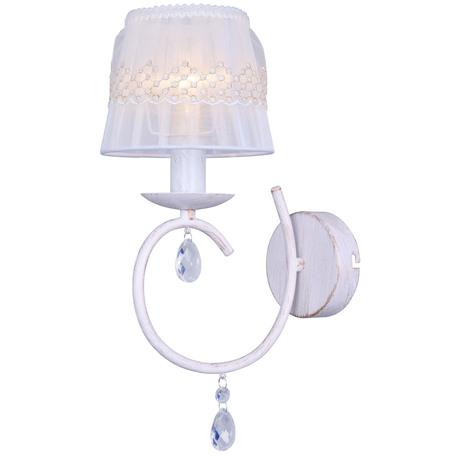 Бра Toplight Camilla TL1135-1W, 1xE14x40W, белый с золотой патиной, белый, прозрачный, металл, текстиль, стекло