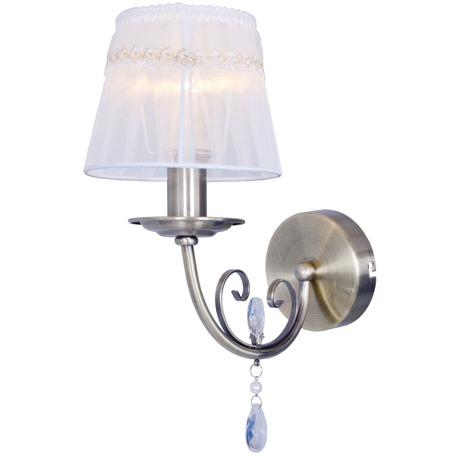 Бра Toplight Gertrude TL1138-1W, 1xE14x40W, бронза, белый, прозрачный, металл, текстиль, стекло