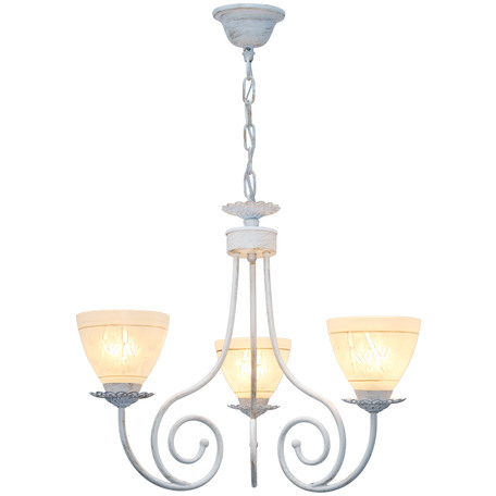 Подвесная люстра Toplight Barbara TL1134-3H, 3xE27x60W, белый с золотой патиной, белый, металл, стекло