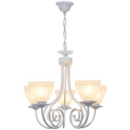 Подвесная люстра Toplight Barbara TL1134-5H, 5xE27x60W, белый с золотой патиной, белый, металл, стекло