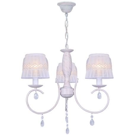 Подвесная люстра Toplight Camilla TL1135-3H, 3xE14x40W, белый с золотой патиной, белый, прозрачный, металл, текстиль, стекло