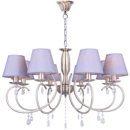 Подвесная люстра Toplight Gillian TL1136-8H, 8xE14x40W, бронза, серый, прозрачный, металл, текстиль, стекло