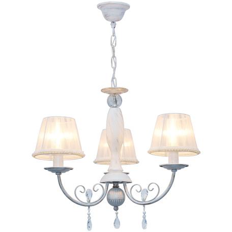 Подвесная люстра Toplight Frances TL1137-3H, 3xE14x40W, белый с золотой патиной, белый, прозрачный, металл, текстиль, стекло