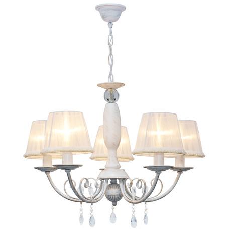 Подвесная люстра Toplight Frances TL1137-5H, 5xE14x40W, белый с золотой патиной, белый, прозрачный, металл, текстиль, стекло