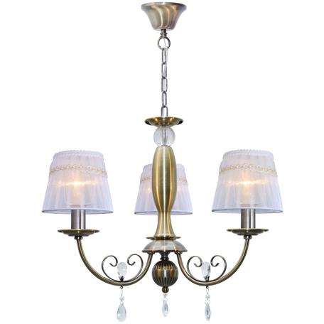 Подвесная люстра Toplight Gertrude TL1138-3H, 3xE14x40W, бронза, белый, прозрачный, металл, текстиль, стекло
