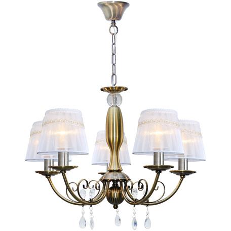 Подвесная люстра Toplight Gertrude TL1138-5H, 5xE14x40W, бронза, белый, прозрачный, металл, текстиль, стекло