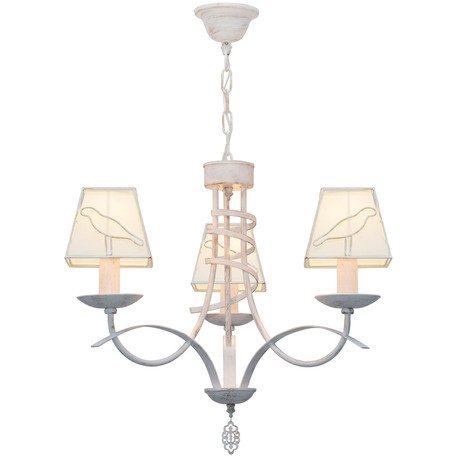 Подвесная люстра Toplight Grace TL1139-3H, 3xE14x40W, белый с золотой патиной, белый, металл, текстиль