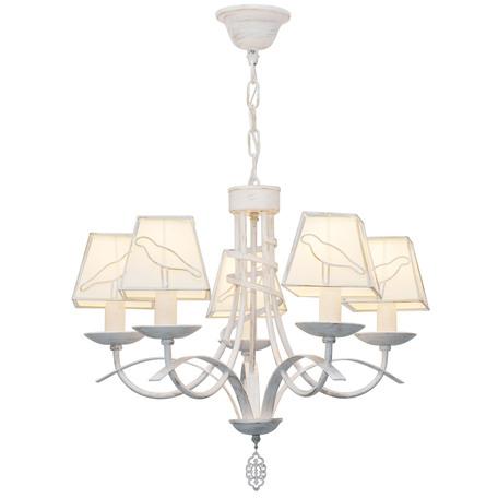 Подвесная люстра Toplight Grace TL1139-5H, 5xE14x40W, белый с золотой патиной, белый, металл, текстиль