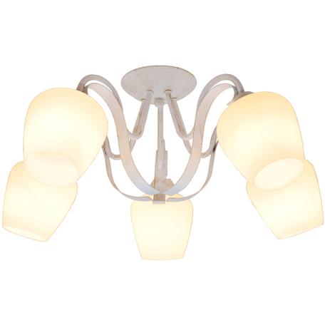 Потолочная люстра Toplight Abegail TL1133-5D, 5xE27x60W, белый с золотой патиной, белый, металл, стекло