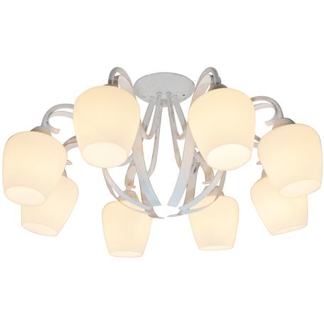 Потолочная люстра Toplight Abegail TL1133-8D, 8xE27x60W, белый с золотой патиной, белый, металл, стекло