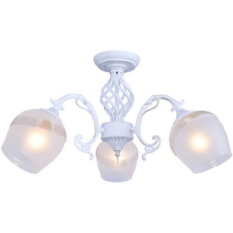 Потолочная люстра Toplight Iris TL1140-3H, 3xE14x60W, белый с золотой патиной, белый, металл, стекло