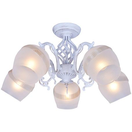 Потолочная люстра Toplight Iris TL1140-5H, 5xE14x60W, белый с золотой патиной, белый, металл, стекло