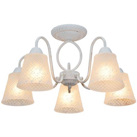 Потолочная люстра Toplight Jaclyn TL1141-5H, 5xE14x60W, белый с золотой патиной, белый, металл, стекло