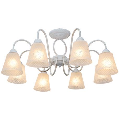 Потолочная люстра Toplight Jaclyn TL1141-8H, 8xE14x60W, белый с золотой патиной, белый, металл, стекло