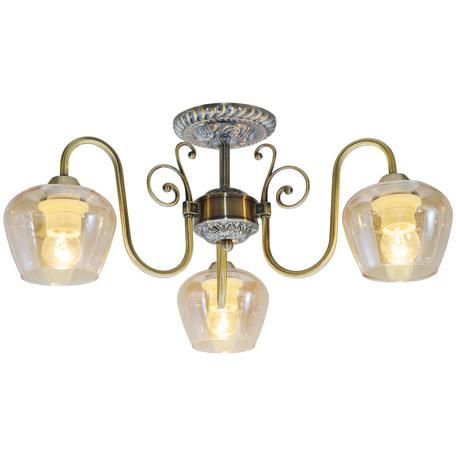 Потолочная люстра Toplight Sybilla TL1157-3D, 3xE14x40W, бронза, прозрачный, металл, стекло
