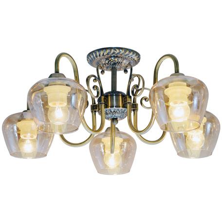 Потолочная люстра Toplight Sybilla TL1157-5D, 5xE14x40W, бронза, прозрачный, металл, стекло