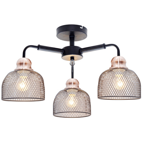 Потолочная люстра Toplight Griselda TL1158-3D, 3xE27x60W, черный, медь, металл