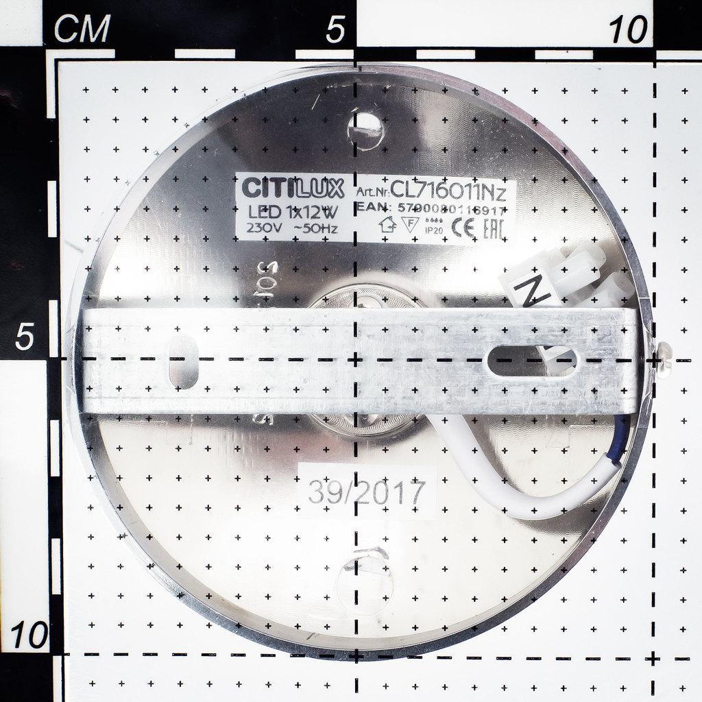 Потолочный светодиодный светильник Citilux Тамбо CL716011Wz, LED 12W 3000K 1000lm, хром, белый, металл, пластик - фото 7
