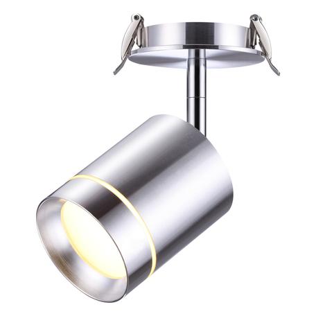 Встраиваемый светодиодный светильник с регулировкой направления света Novotech Spot Arum 357689, LED 9W 3000K 405lm, серебро, алюминий, металл, пластик