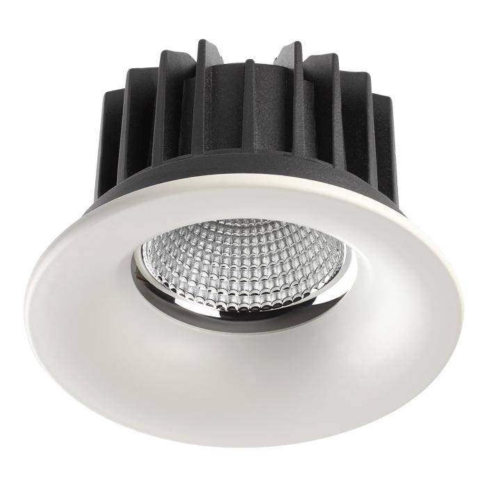 Встраиваемый светодиодный светильник Novotech Spot Drum 357604, IP44, LED 30W 3000K 2100lm, белый, металл - фото 1