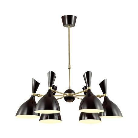 Люстра с регулировкой направления света на телескопической штанге Odeon Light Hall Rasto 4665/6, 6xE14x40W, матовое золото с черным, черный, металл