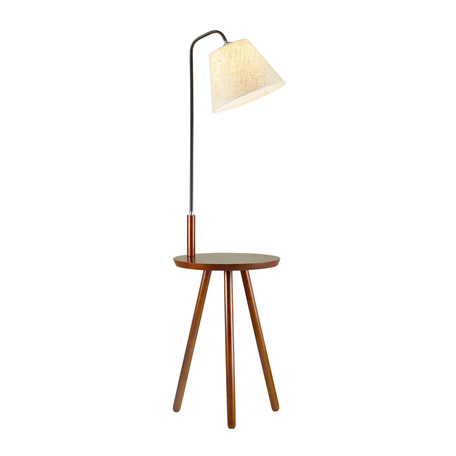 Торшер со столиком Odeon Light Hall Kalda 4666/1F, 1xE27x60W, коричневый, бежевый, дерево, текстиль