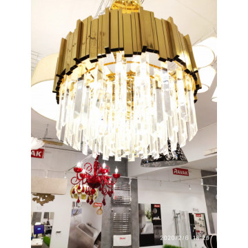 Подвесной светильник LUSTRAM CH301-8-BRS, 8xE14x25W золото, хрусталь - миниатюра 2