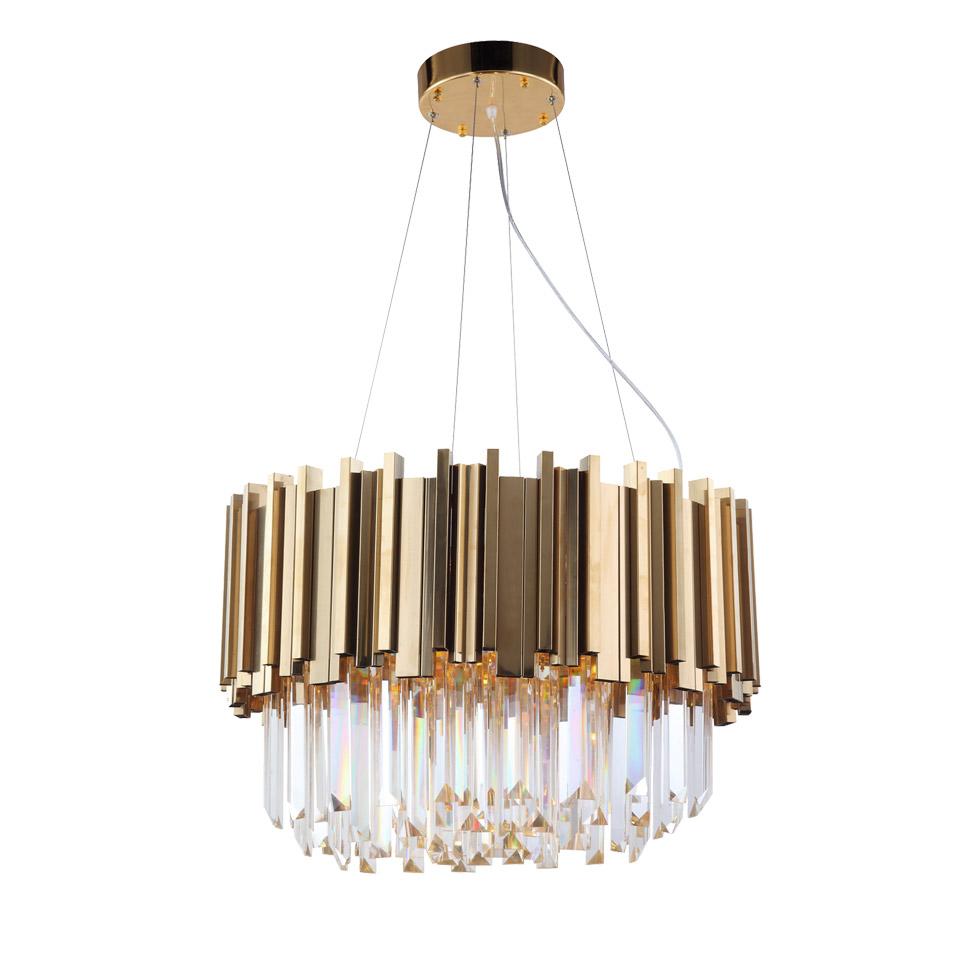 Подвесной светильник LUSTRAM CH301-8-BRS, 8xE14x25W золото, хрусталь - фото 1