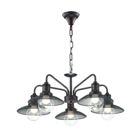 Подвесная люстра Lumion Lofti Ludacris 3513/5, 5xE27x60W, коричневый, металл, металл со стеклом