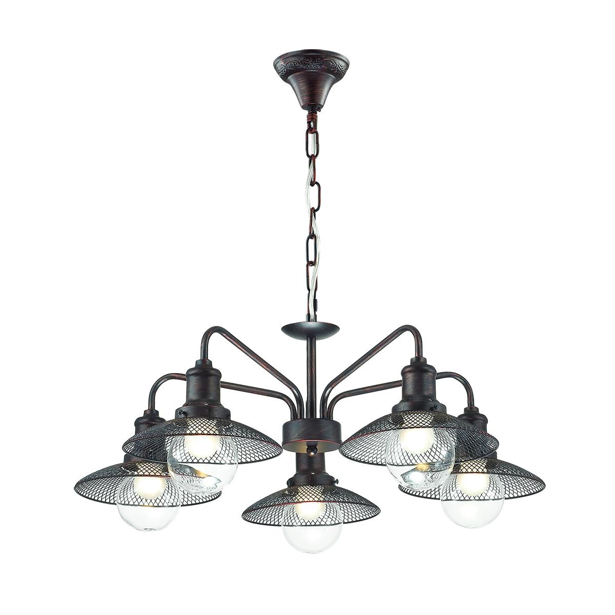 Подвесная люстра Lumion Ludacris 3513/5, 5xE27x60W, коричневый, прозрачный, металл, стекло - фото 1