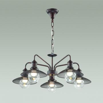 Подвесная люстра Lumion Ludacris 3513/5, 5xE27x60W, коричневый, прозрачный, металл, стекло - миниатюра 3