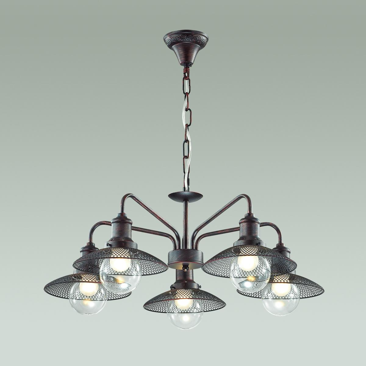 Подвесная люстра Lumion Ludacris 3513/5, 5xE27x60W, коричневый, прозрачный, металл, стекло - фото 3