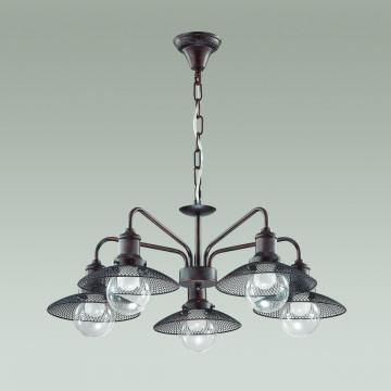 Подвесная люстра Lumion Ludacris 3513/5, 5xE27x60W, коричневый, прозрачный, металл, стекло - миниатюра 4