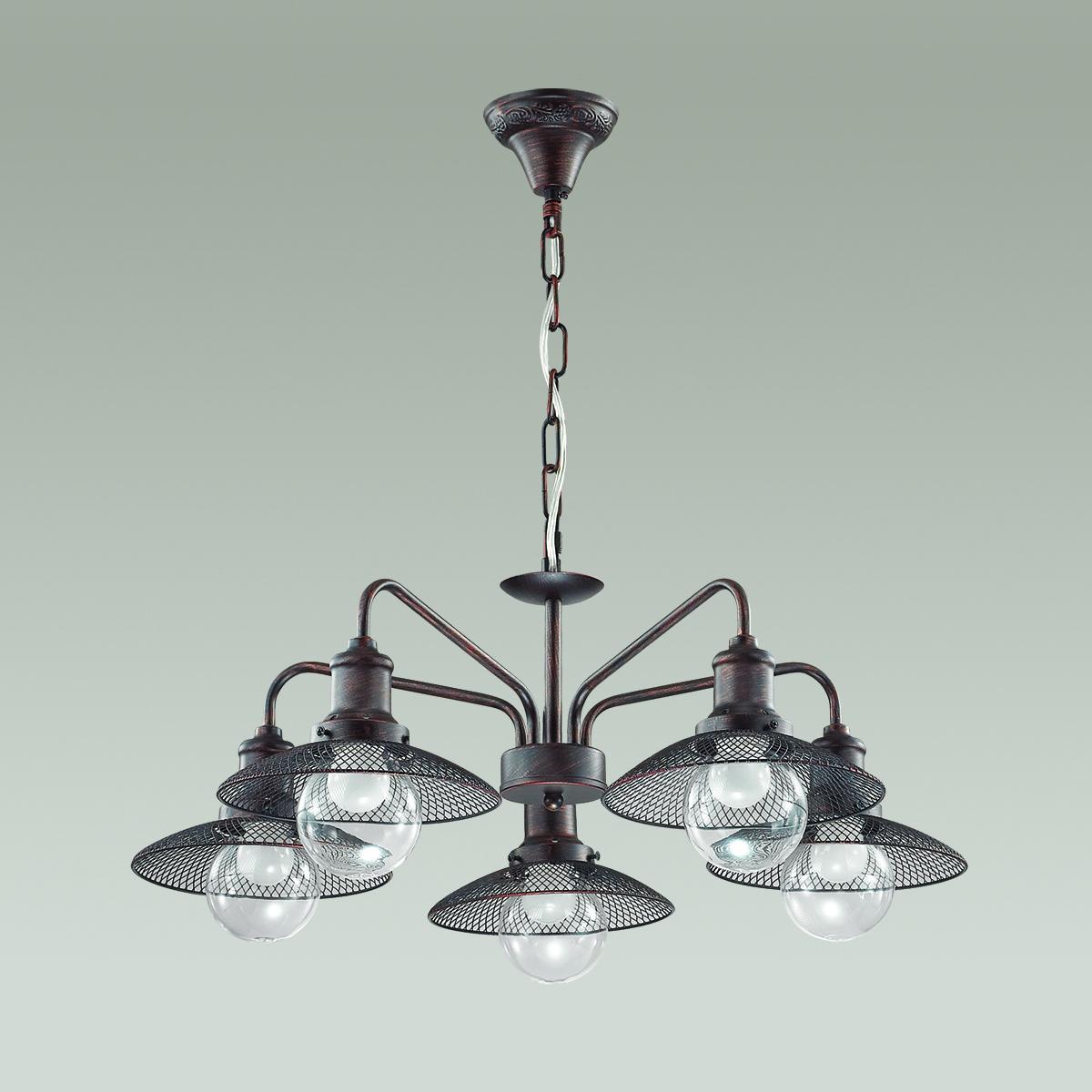 Подвесная люстра Lumion Ludacris 3513/5, 5xE27x60W, коричневый, прозрачный, металл, стекло - фото 4