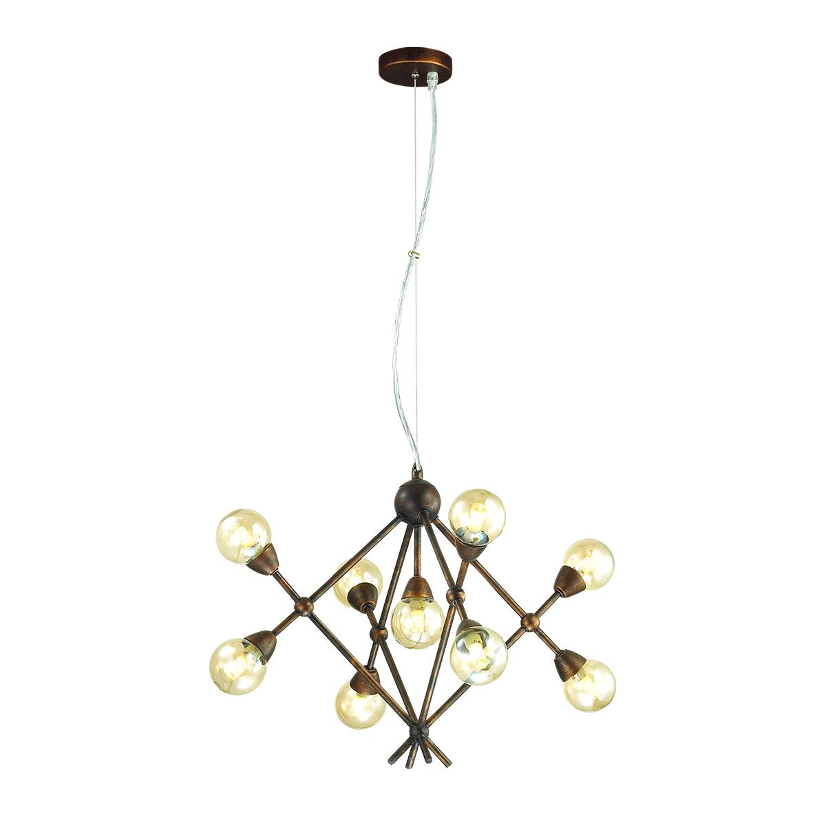 Подвесная люстра Lumion Zianox 3596/9, 9xG9x25W, бронза, янтарь, металл, стекло - фото 1