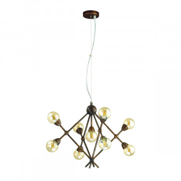 Подвесная люстра Lumion Zianox 3596/9, 9xG9x25W, бронза, янтарь, металл, стекло - миниатюра 2