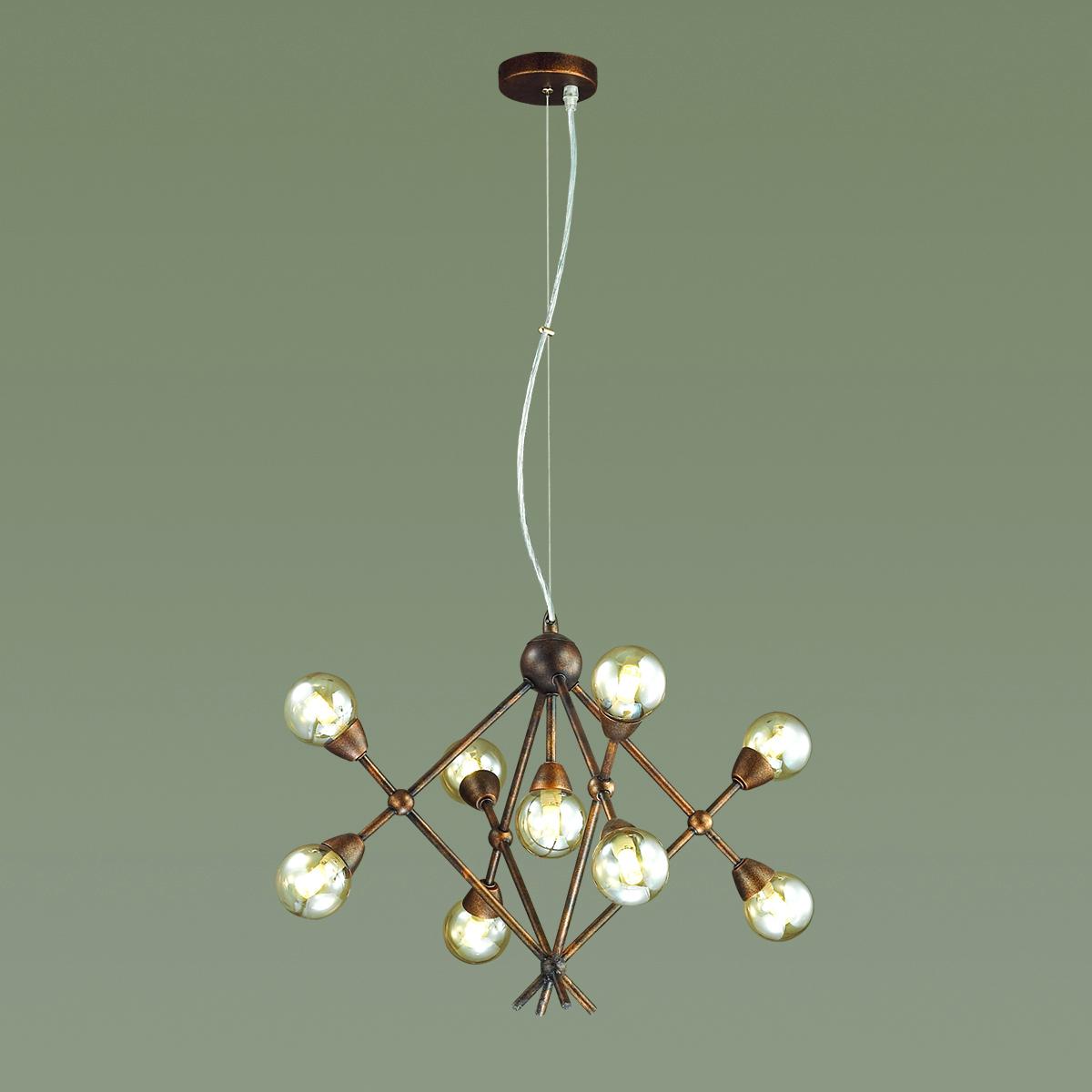 Подвесная люстра Lumion Zianox 3596/9, 9xG9x25W, бронза, янтарь, металл, стекло - фото 3