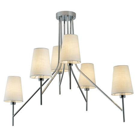 Потолочная люстра Lussole LGO ToLEDo LSP-8181, IP21, 6xE14x40W, хром, белый, металл, текстиль