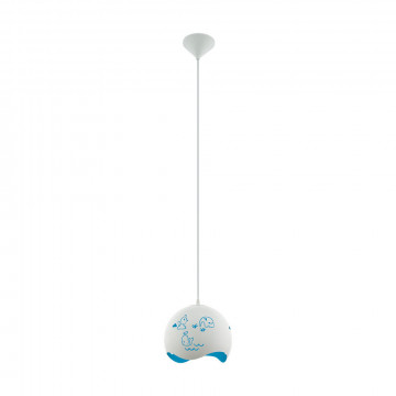 Подвесной светильник Eglo Laurina 97393, 1xE27x60W, белый, синий, пластик, металл