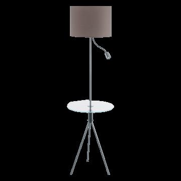 Торшер со столиком Eglo Policara 97771, 1xE27x60W + LED 3,5W 380lm, никель, прозрачный, серый, металл со стеклом/пластиком, текстиль
