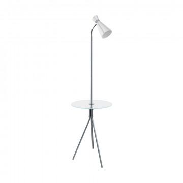 Торшер со столиком Eglo Policara 97772, 1xE27x10W, никель, прозрачный, белый, металл со стеклом, металл
