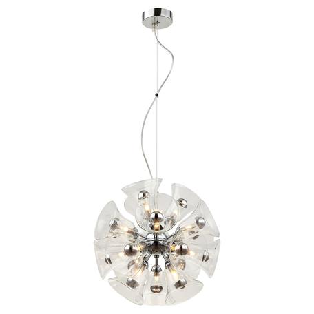 Подвесная люстра Lussole Loft Oneida LSP-8197, IP21, 18xG9x40W, хром, прозрачный, металл, стекло